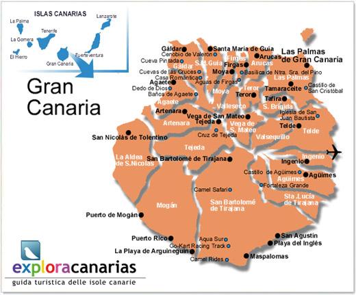 Isole Gran Canarie Cartina.Localita Principali Di Gran Canaria Isole Canarie